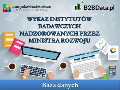 instytuty badawcze - Wykaz instytutów badawczych nadzorowanych przez Ministra Rozwoju